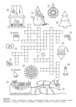 Crossword Puzzle. This Christmas Theme Crossword Puzzle Game Is For Kids. Game And Coloring Page. French Language. Vector Illustration.