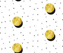 Hand Drawn Vector Abstract Gold Full Moon Seamless Pattern And Polka Dots Texture Isolated On White Background.Design For Decoration,wrapping,fashion Fabric,scrapbooking.