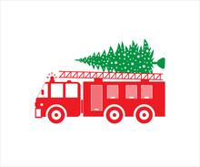 Truck Vector, Christmas Firetruck SVG,  Fire Truck Symbol, Christmas Fire Truck