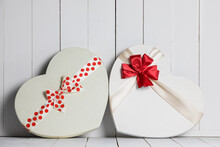 Two Heart Boxes With Red Bows