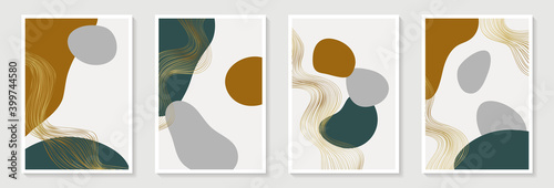 Fototapeta Creative minimalist hand draw Abstract art background with stain and shape elements vector EPS10. Design for wall decoration, postcard, poster or brochure obraz