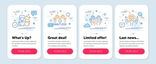 Set Of People Icons, Such As Hand Sanitizer, Fair Trade, Cleaning Symbols. Mobile App Mockup Banners. Organic Tested Line Icons. Hygiene Care, Safe Nature, Maid Service. Hand Sanitizer Icons. Vector