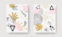 Abstract Contemporary Art Posters With Marble Stones, Doodle Textures, Geometric Shapes, Animal Pattern, Plants, Dots And Watercolor Elements. Trendy Modern Backgrounds For Postcards, Brochure Cover