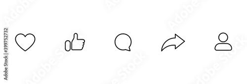Obraz Social media icons set like share comment love repost admin user silhouette flat line art symbols - fototapety do salonu