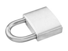 Silver Metallic Padlock Isolated Against White Background