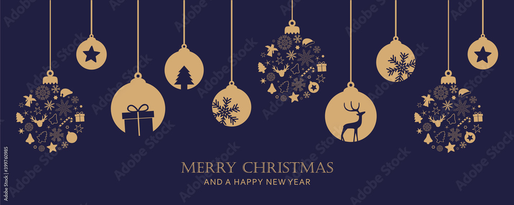 Fototapeta merry christmas card with hanging ball decoration vector illustration EPS10