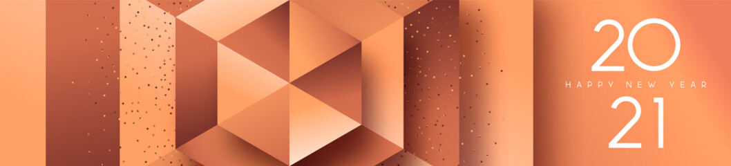 New Year 2021 copper bronze 3d geometric banner