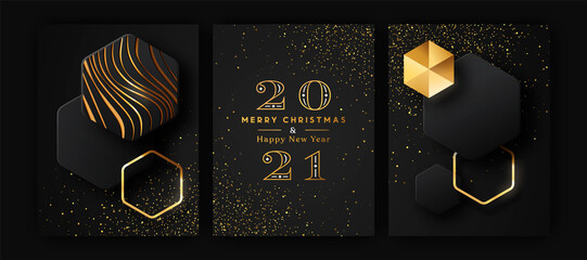 Christmas New Year 3d gold black modern card set