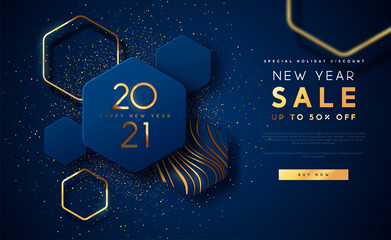 Fototapeta Koszykówka New Year 2021 gold sale template background