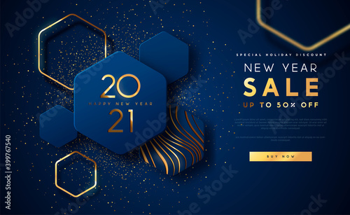 Obraz New Year 2021 gold sale template background - fototapety do salonu