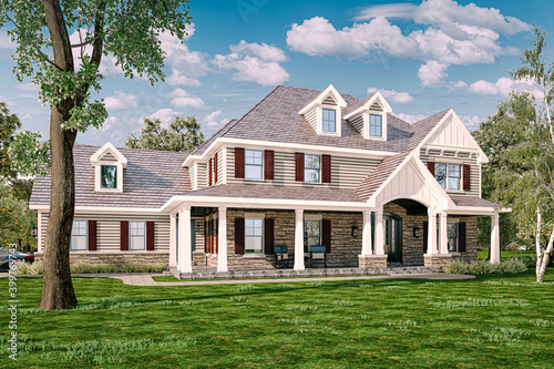 3d beautiful house exterior render