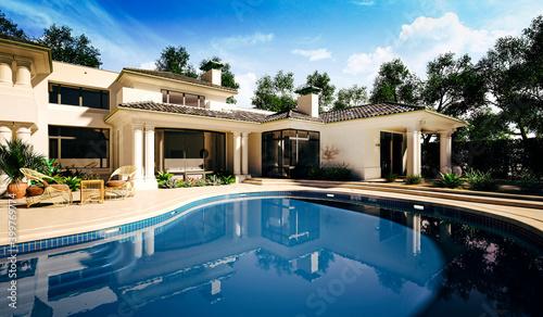 3d beautiful luxurious house exterior render