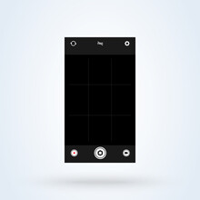 Mobile Camera App Screen Template. Mobile Phone With Camera Interface Vector Illustration