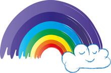 Die Hoffnung Behalten Und Zuversichtlich Bleiben. Regenbogen Mit Kleiner Wolke Und Lustigem Gesicht. Alles Wird Gut. Krisen überstehen.