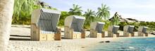 Viele Leere Strandkörbe Wegen Reisewarnung Am Strand