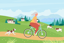 Healthy Active Lifestyle For Senior People Vector Illustration. Cartoon Old Woman Cyclist Character Riding Bicycle Bike, Older Rider Lady Cycling On Rural Road In Summer Village Landscape Background