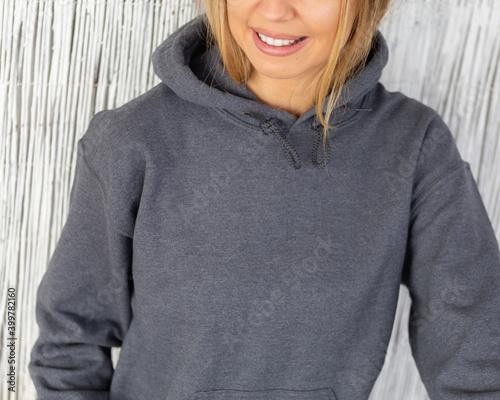 Fototapeta Grey hoodie sweatshirt mockup with lifestyle model obraz