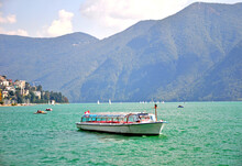 A Tour Boat On Lake Lucerne Swtzerland.