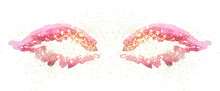Golden Glitter On Abstract Pink Watercolor Wings On White Background