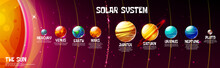 Vector Cartoon Solar System Planets Sun Position