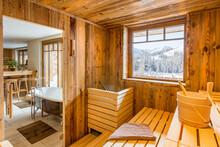 Sauna Interior Of A Luxury Alpine Chalet In The Alps