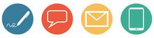 Bunter Banner Mit 4 Buttons: Kontakt Per Post, Gespräch, E-Mail Oder Telefon Hotline