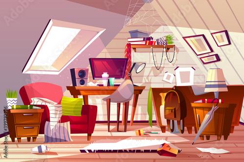 Tela Messy room at garret attic vector illustration