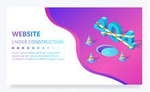 404 Error Web Site Vector Under Construction Page