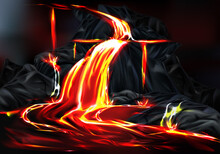 Hot Lava Flow During Volcanic Activity Vector