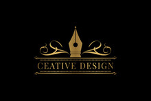 Luxurious Pen Logo Cress For Education And Copywriter