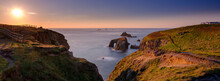 Sunset Over Land's End, Longships And The Islands Of The Armed Knight And Enys Dodnan, Cornwall, UK
