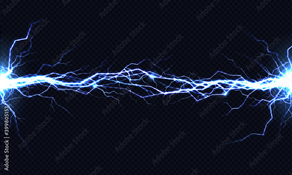 Fototapeta Electrical energy discharge 3d vector light effect
