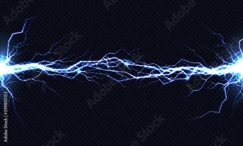 Fototapeta Electrical energy discharge 3d vector light effect obraz