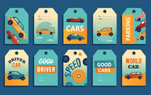 Special Tag Designs With Retro And Modern Automobiles. Different Cars On Colorful Background With Text. Transport And Transportation Concept. Template For Greeting Labels Or Invitation Card