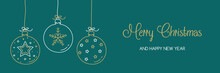 Christmas Banner With Hanging Balls And Hand Drawn Decorations. Vector