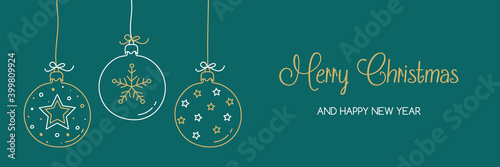 Canvas Print Christmas banner with hanging balls and hand drawn decorations