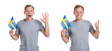 Happy Man With The Flag Of Sweden. One Shows A Big Thumbs Up, Three Raised A Palm In A Sign Of Greeting, Isolated On A White Background.