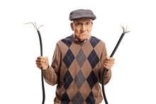 Grumpy Elderly Man With A Broken Cable