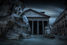 Evening View Of  Pantheon Monument, Rome City Center, Italy