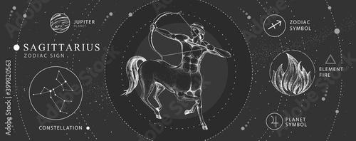 Fotografija Modern magic witchcraft card with astrology Sagittarius zodiac sign