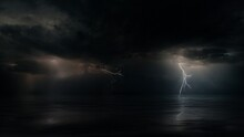 Dark Mysterious Monsoon Cyclone Storm Clouds And Multiple Bolts Of Lightning. Tranquil Eye Of The Storm Above Tropical Ocean At Night. Conceptual Establishing Shot Of Powerful Hurricane Weather.