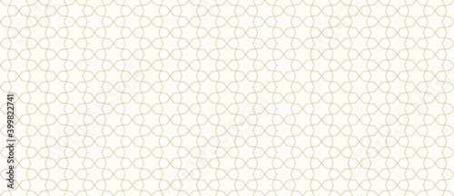 Obraz Abstract geometric seamless pattern in traditional Arabian style. Golden ornament with thin lines, oriental mosaic, subtle grid. Gold and white background. Modern minimal design for decor, wallpaper - fototapety do salonu