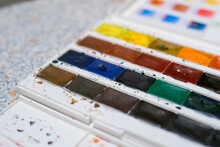 Professional Watercolor. Colors. Palette. Painting. Materials For Artists.