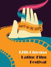 Latino Film Cinema Festival Poster. Vector Template.