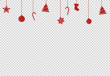 Christmas Decoration, Star, Ball, Tree Candy, Shoes Hanging From Top Isolated  On Png Or Transparent  Background, Space For Text, Sale Banner Template , New Year, Birthdays,  Luxury Card, Vector