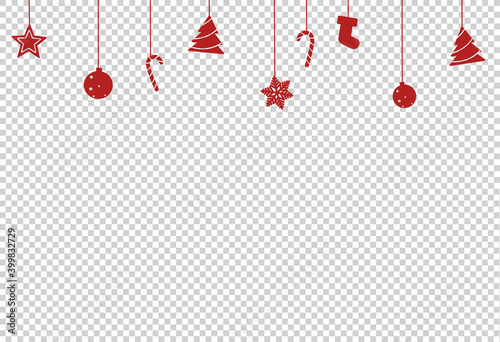 Fotografia Christmas decoration, star, ball, tree candy, shoes hanging from top isolated  o