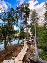 Scenic View Of Jordan Pond Trail At Acadia National Park