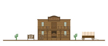 Flat Style Saloon Building On Wild West.