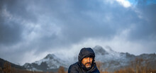 Navacerrada, Madrid, Spain. 8 December 2020.  View Of A Middle-aged Man's Face Protected From The Cold In A Cold, Snowy Mountainous Environment