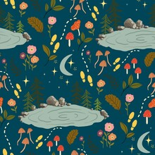 Seamless Vector Repeat Pattern, Lake Scenery At Night With Trees, Mushrooms, Flowers And Leaves On A Blue Background